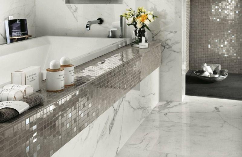 die silbernen fliesen im mosaik design sorgen mit dem. Black Bedroom Furniture Sets. Home Design Ideas