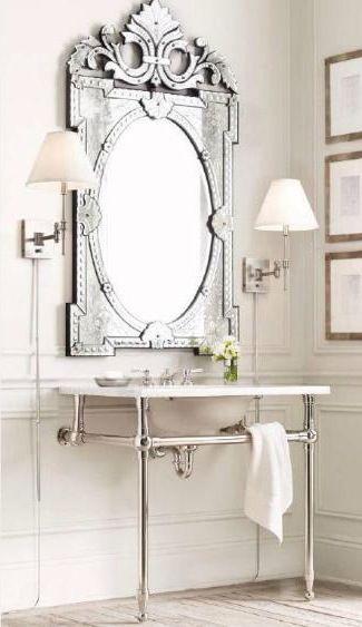Venetian Mirror In The Bathroom Powder Room Home Decor And