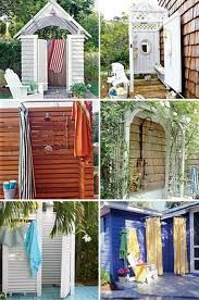 outdoor shower ideas - Forget the water hook-up.  I'd rather just use for changing clothes.