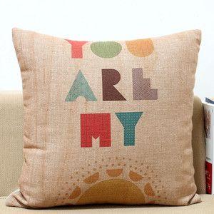 Colorful Art Letters Vintage Linen Cotton Cushion Cover Throw Pillow Case ecru