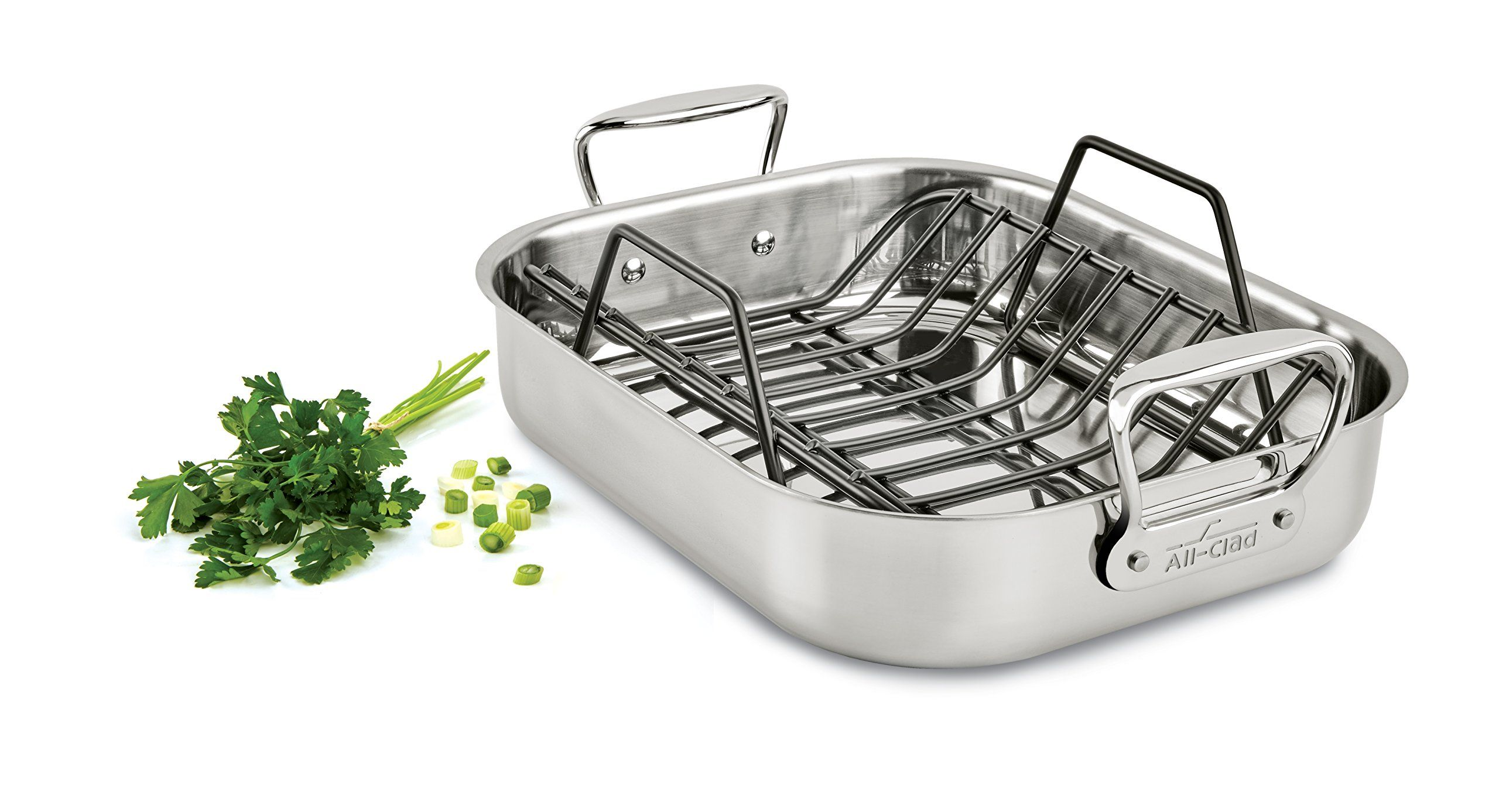 All Clad E752s264 Stainless Steel Dishwasher Safe Small 11 Inch X 14 Inch Roaster With Nonstick Rack Cookware 14 Inch Silver In 2020 Stainless Steel Dishwasher Stainless Steel Cookware