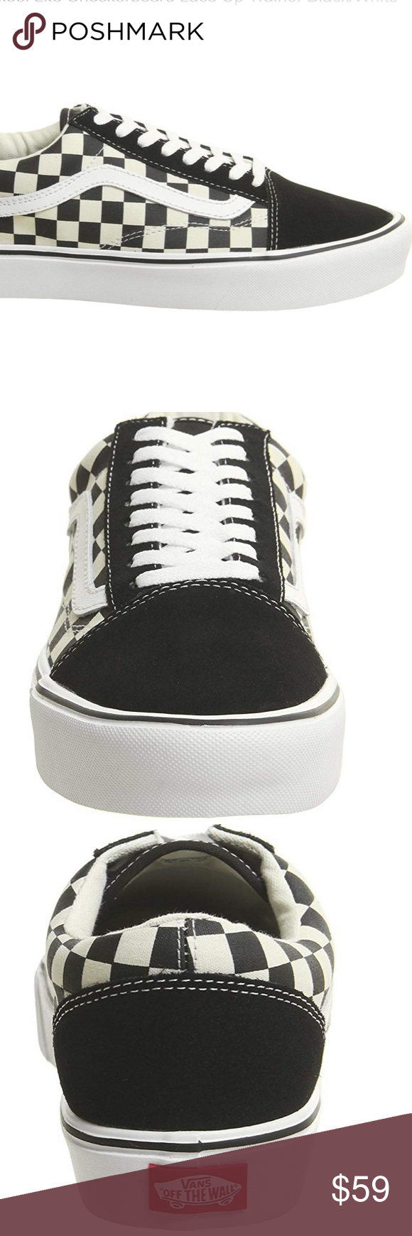 Unisex Old Skool Lite Checkerboard Lace Black And White Vans Lace Up Trainers White Vans