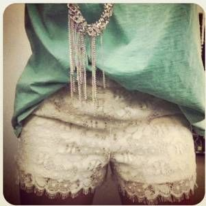Teal top and lace shorts. summer