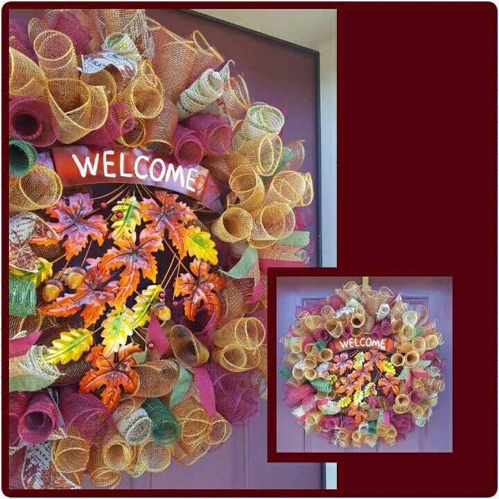 """Beautiful Fall/Autumn Deco Mesh Curly Wreath - 18"""" frame. All the warming & welcoming colors of the season with accent welcome sign nestled in the center to greet guest. Handmade original. $75"""