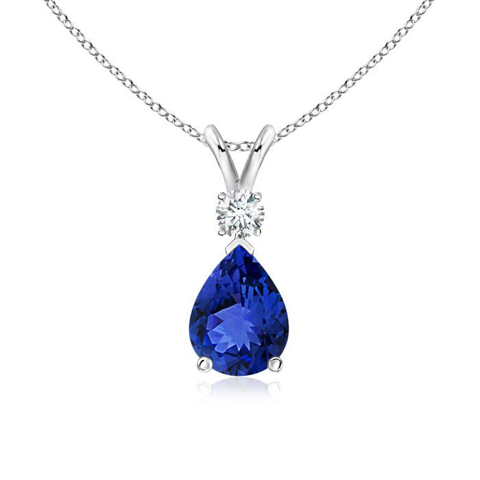 Angara Pear Blue Sapphire Diamond Necklace in Platinum XNrkV
