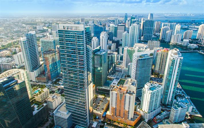 Herunterladen Hintergrundbild Miami 4k Ansicht Von Oben Moderne Architektur Wolkenkratzer Florida