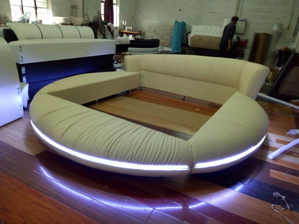 LED remote control contemporary modern leather round bed King size ...