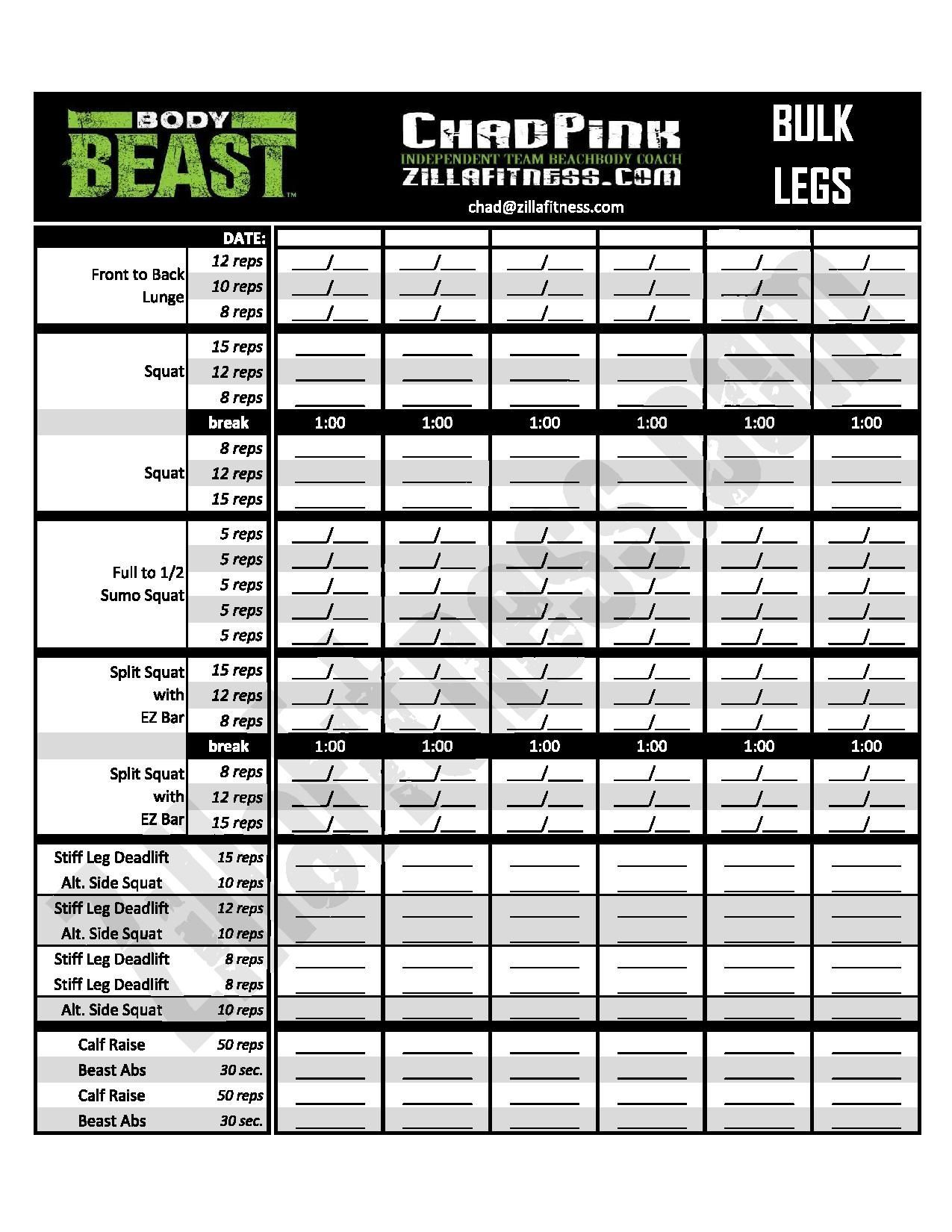 New And Improved Body Beast Workout Sheets Track Your