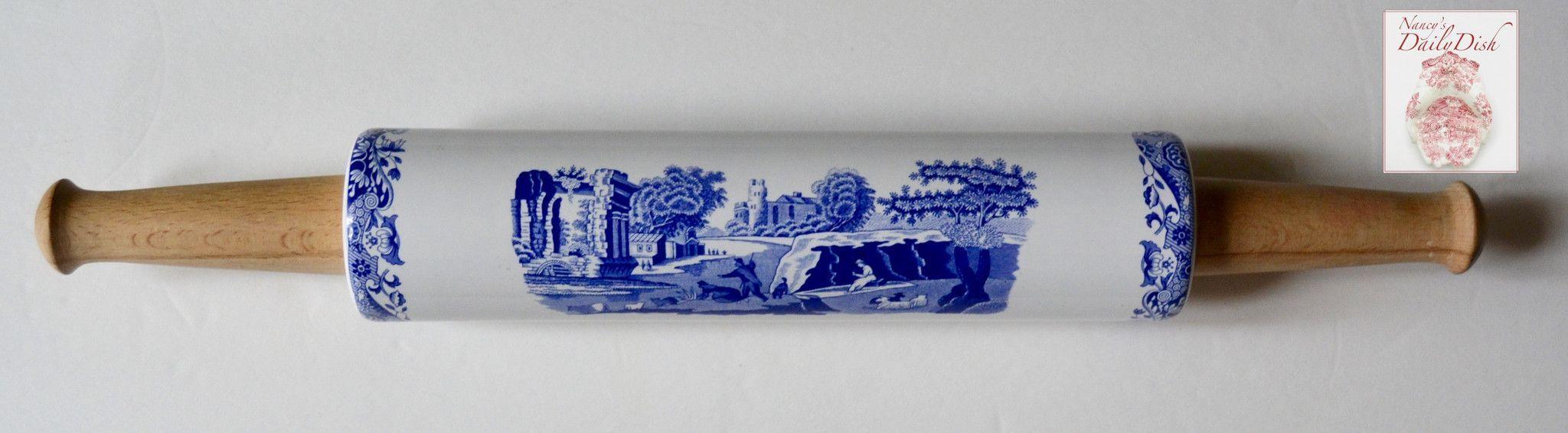 Blue english ironstone transferware rolling pin wood