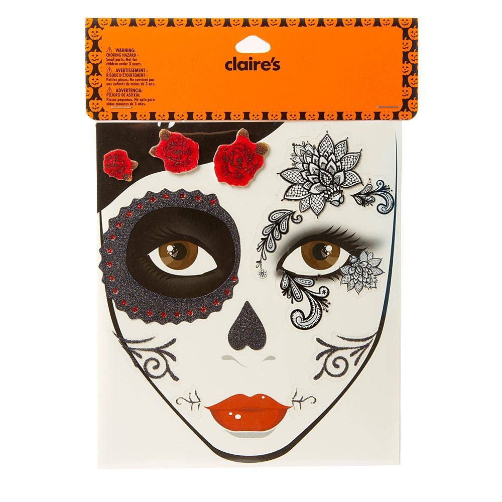 halloween day of the dead face tattoos | claire's | this is