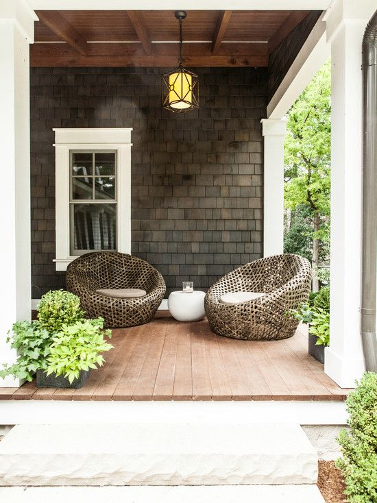 Front Porch Wicker Chairs Modern Farmhouse Exterior Home