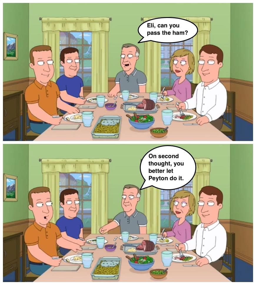 Family Dinners Are Awkward At The Manning House This Season Funny Meme Pictures Family Guy Family Thanksgiving