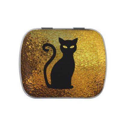 Black Cat Yellow Glass Texture Modern Cat Eyes Candy Tin - halloween - halloween decorations black cat