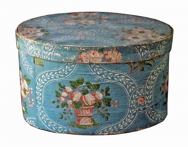 ... with newspaper lining from the Patriot, Concord, NH, dating from 1827 to 1829. Desirable blue-dominant wallpaper with floral patterning.