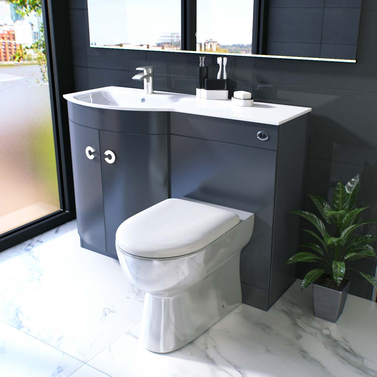 Choose A Vanity Unit And Toilet Suite In Grey For A Modern Look Grey Vanity Unit Vanity Units Toilet Suites