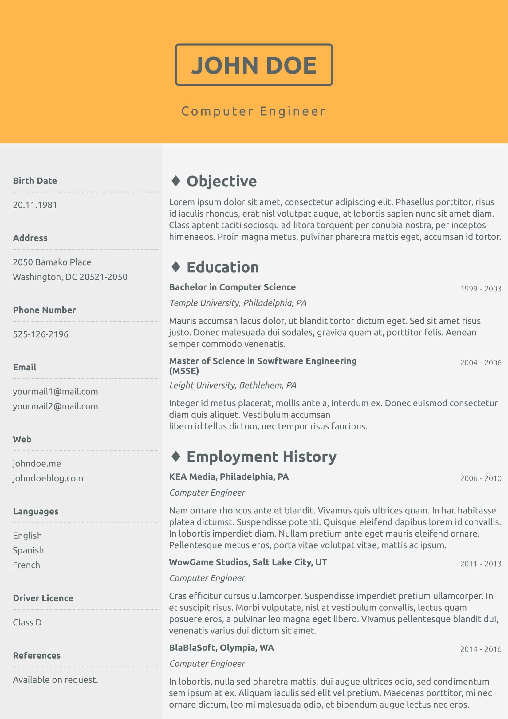 No Picture Cv Template From CvzillaCom Enjoy Creating Your
