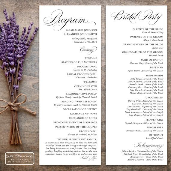 Printable Wedding Program Design Pdf The Charlotte Collection