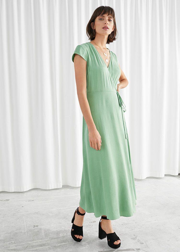 Satin midi wrap dress in 2020 dresses wrap dress satin
