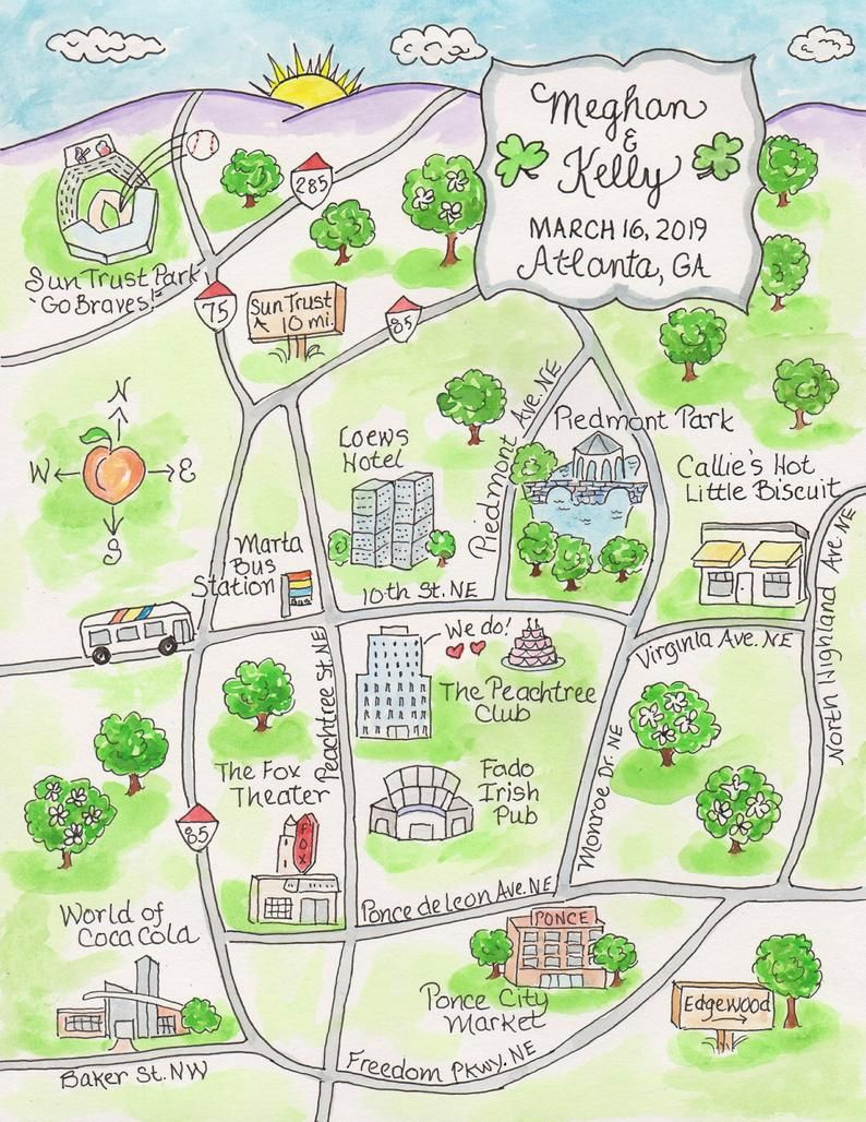 Custom Wedding Map Of City Of Your Choice Watercolor Map