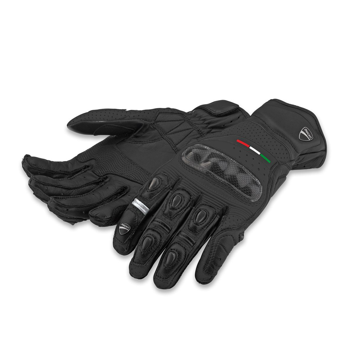 Leather motorcycle skeleton gloves - Guantes De Piel Diavel 14 Negros Ducati Diavelmotorcycle Glovesleather