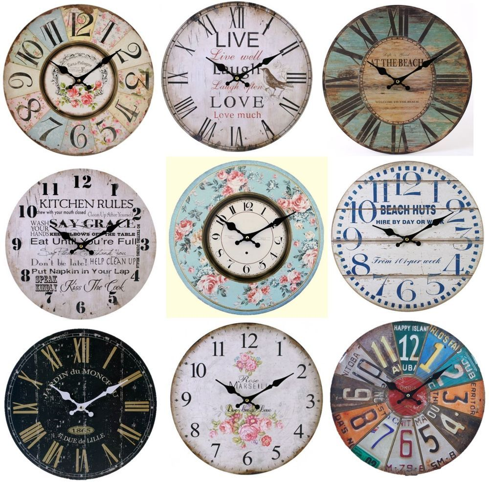 Large Vintage Wooden Wall Clock Shabby Chic Rustic Kitchen Home ...