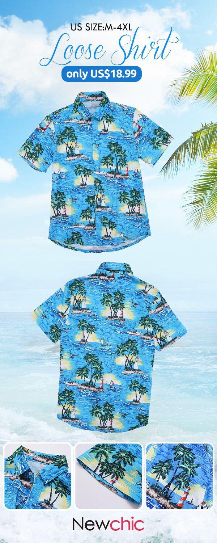ca06d13bc 【US$18.99】Mens Loose Beach Hawaiian Coconut Tree Printing Shirts#beach # summer