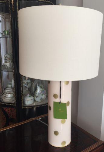 Kate Spade Cylindrical Blush Pink Gold Polka Dot Table Lamp Retail