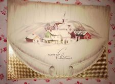 Vintage 1940s UNUSED Christmas Greeting Card Lovely Watercolor Town Snow Scene