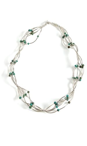 Multi-Strand Necklace with Silver Curved Tube Beads and