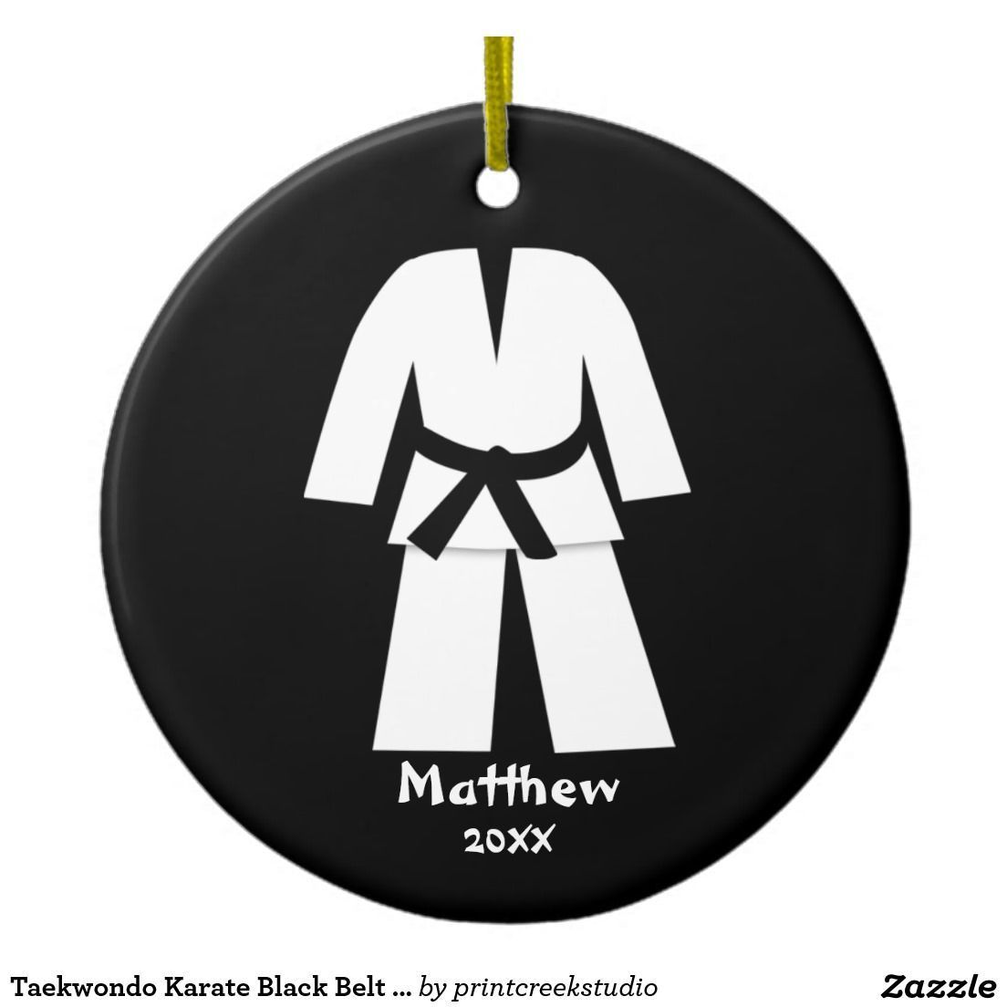 Karate ornament - Taekwondo Karate Black Belt Personalized Ceramic Ornament