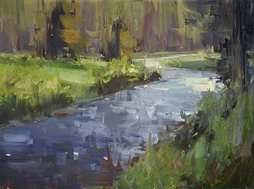 Bear Creek Evening by Stacey Peterson Oil ~ 9 x 12