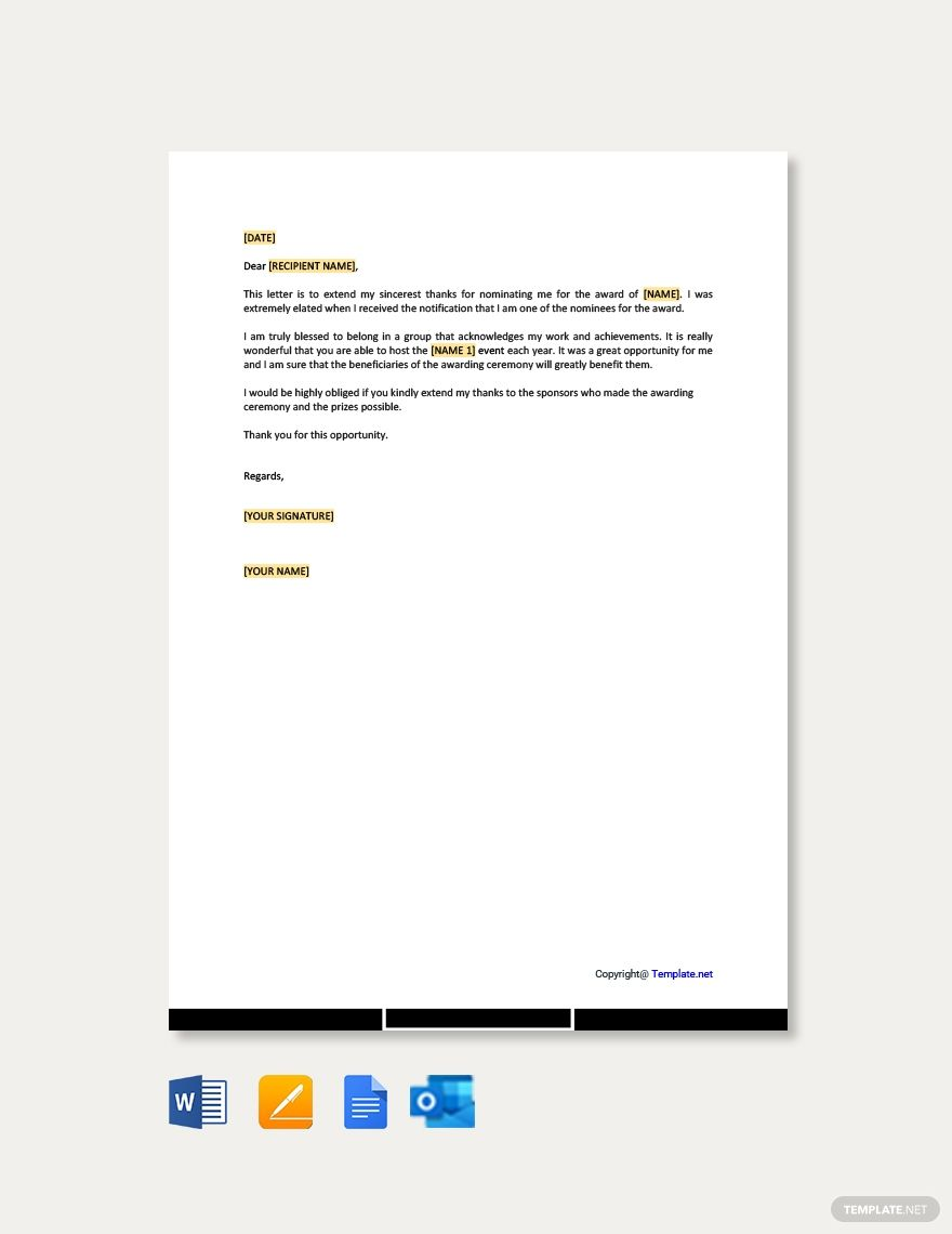 Thank You Letter Template For Award Nomination Free Pdf Word Apple Pages Google Docs Thank You Letter Lettering Thank You Letter Template