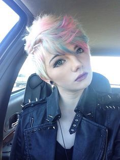 Stunning Short Hair In Platinum With Cotton Candy Pink And Blue