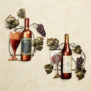 Wine Lovers Selection Metal Wall Art Set Wine Decor Wine Wall Clock Wall Art Sets