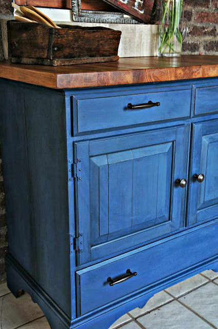 Buffet Finished In Napoleonic Blue Chalk Paint Decorative By Annie Sloan Whimsical Perspective