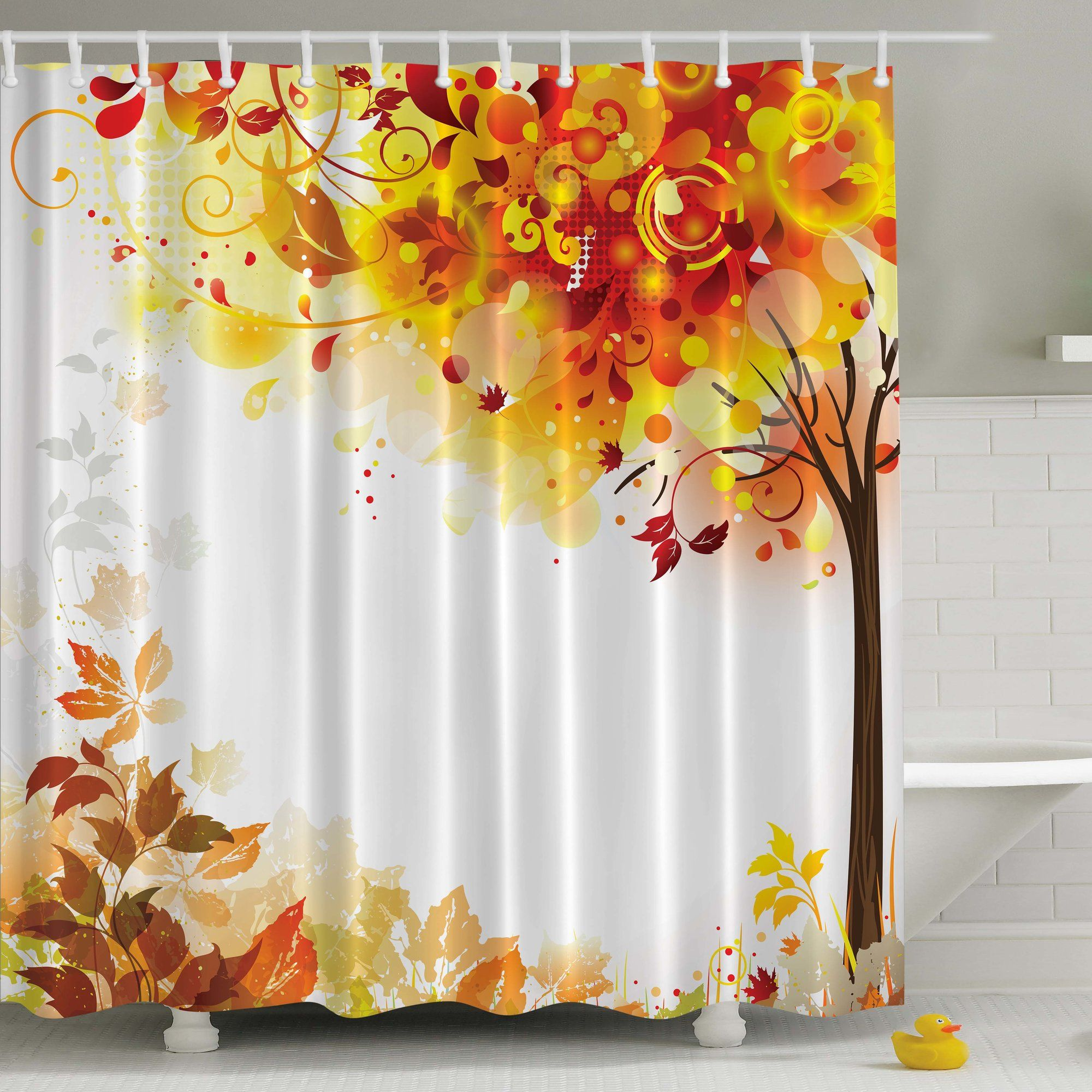 Fall Leaves Print Shower Curtain Orange Shower Curtain Tree Shower Curtains Shower Curtain