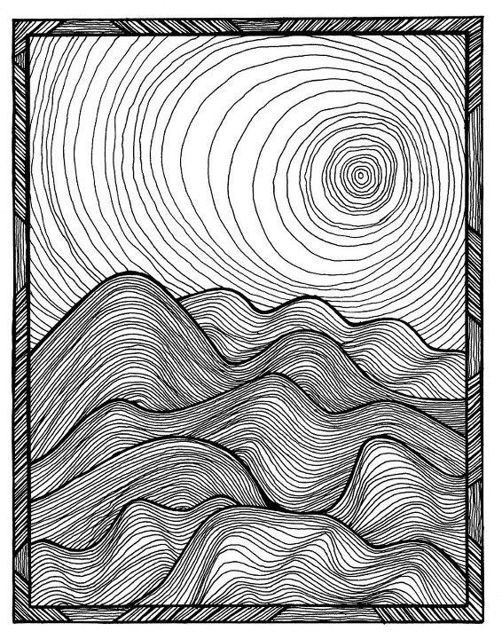 Rolling Hills Drawing : rolling, hills, drawing, Rolling, Hills;, Project,, Lesson, Drawings,, Zentangle