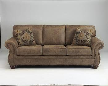 Larkinhurst Earth Tone Leather Look Fabric Upholstery Traditional Style Sofa