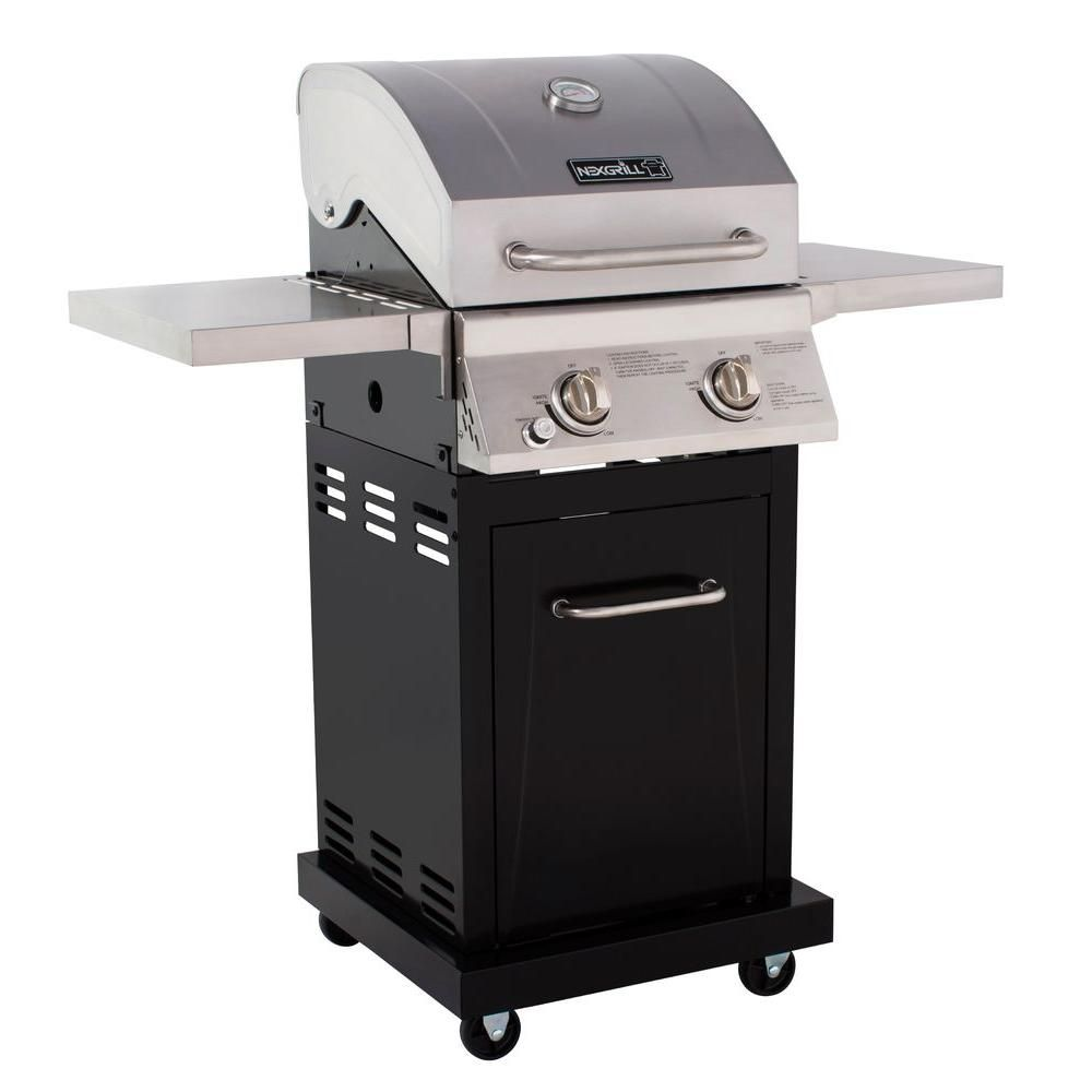 Nexgrill Small Space 2 Burner Propane Gas Grill In Stainless Steel With Black Cabinet 720 0864 The Home Depot