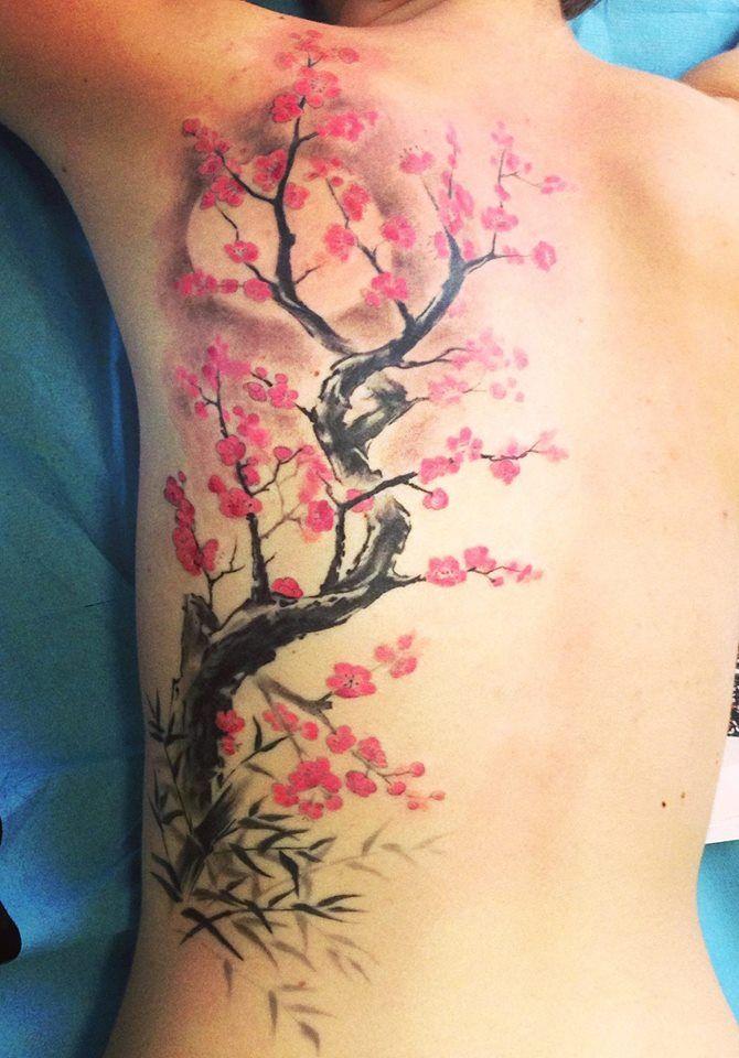 sakura blossom flower tattoo (Ink'a Tattoo Lyon)