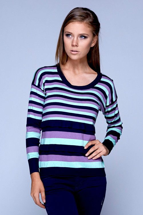 Northern Lights Black and Purple Striped Sweater