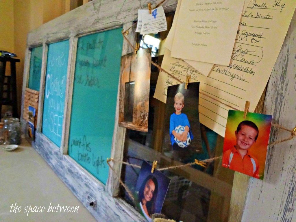 old door turned organization center - corkboard, chalkboard, dry erase board