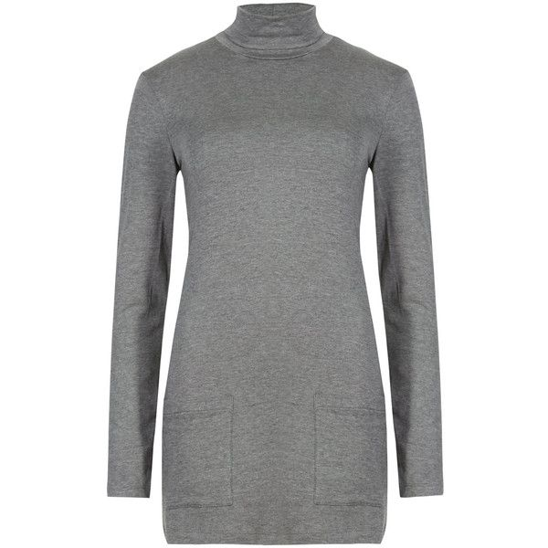 M&S Collection Heatgen Funnel Neck Tunic featuring polyvore, fashion, clothing, tops, tunics, grey, grey top, gray tunic, special occasion tops, evening tops and grey long sleeve top