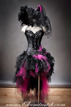Halloween witch costume & Custom Size hot pink and black Feather Burlesque Corset Witch ...