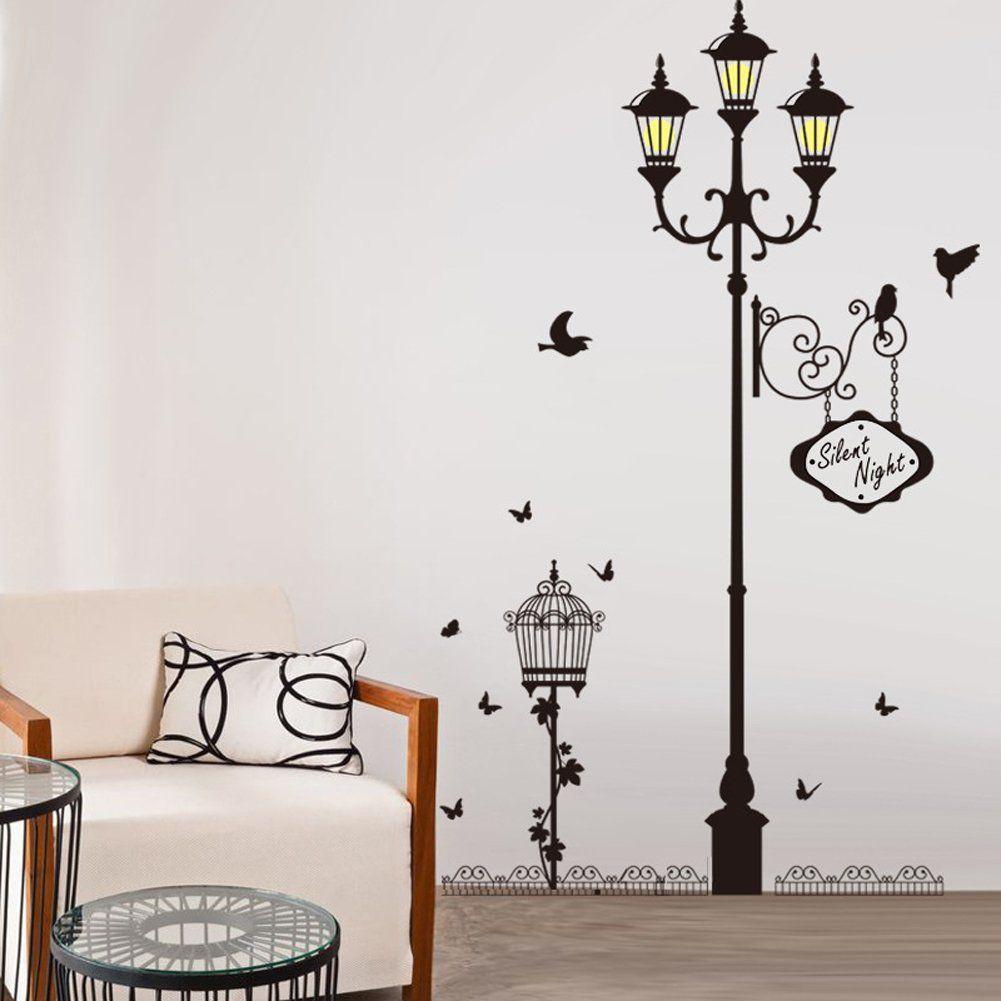 Amazon Com Wallpark Silent Night Theme European Style Street Light Lamp Bird Butterfly Removable Wall Stick Home Decor Online Home Decor Wall Decor Stickers [ 1001 x 1001 Pixel ]