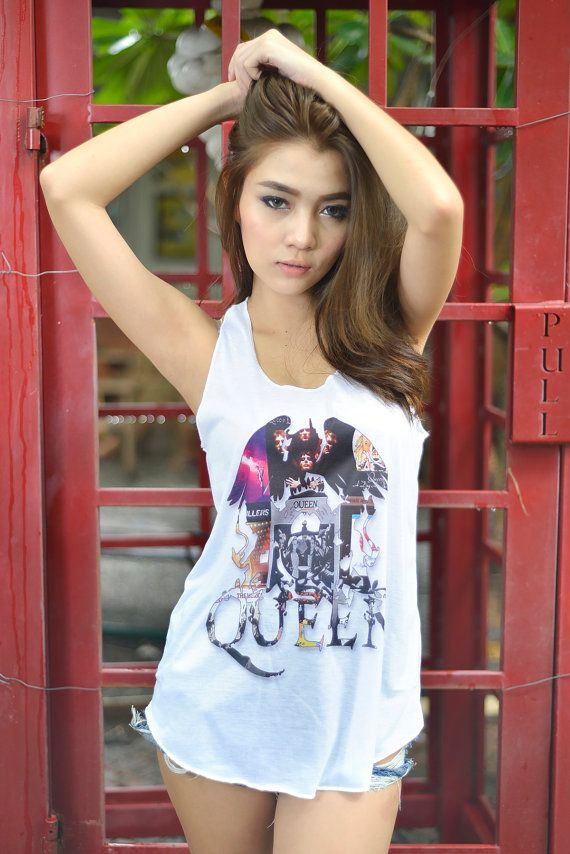 061801998a8f8c Queen Tank Top Freddie Mercury UK Rock Band Tee Shirt Girls Women Rocker  Chic Fashion Outfits Style Tank Top