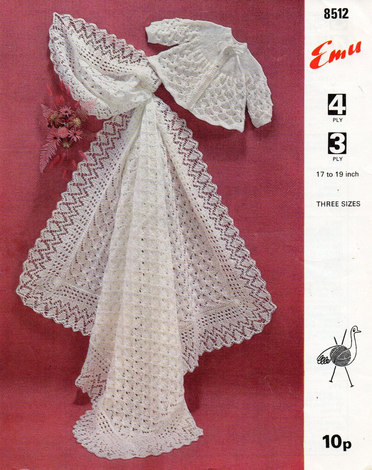 Baby Shawl Knitting Pattern PDF matinee coat square shawl