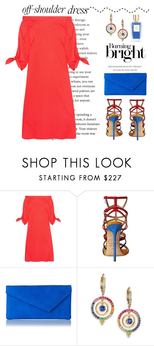 """Off Shoulder Dress"" by conch-lady ❤ liked on Polyvore featuring TIBI, Dsquared2, L.K.Bennett, Temple St. Clair, Lancôme, offshoulderdress and burningbright"