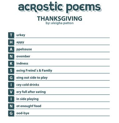Thanksgiving Acrostic Poems With One Words Acrostic Poem Thanksgiving Acrostic Poem Thanksgiving Poems