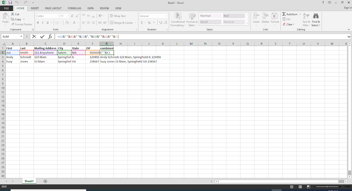 Combining cells in Excel The Silicon Underground in 2020